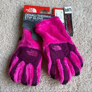 NWT The North Face Pink Denali Thermal Gloves L